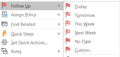 Microsoft Outlook Set Follow Up