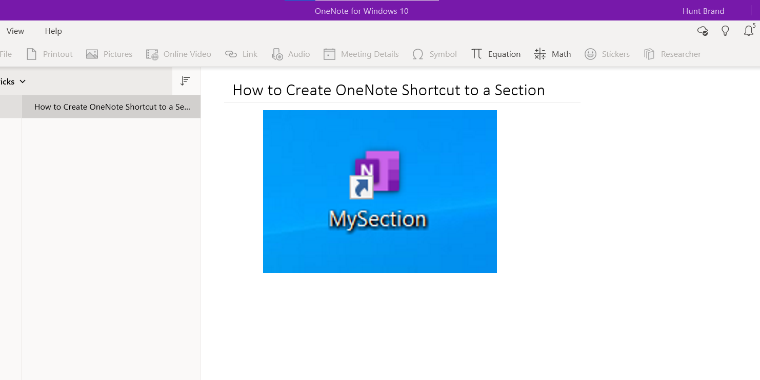 OneNote Section