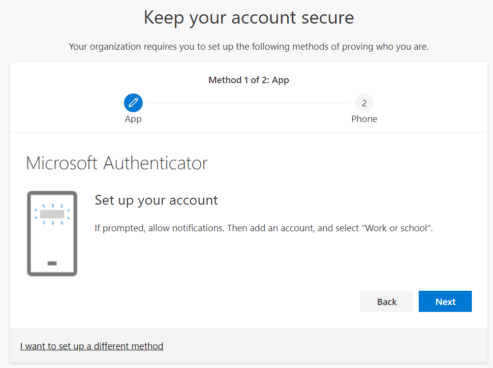 Keep Your Account Secure second screen Microsoft Authenticator